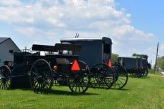 Amish vagnar och barnvagnar som parkeras på en lantgård royaltyfri fotografi