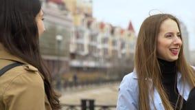 Amistad de ni?a Tres muchachas hermosas jovenes est?n charlando en la calle Son feliz Las muchachas son felices de encontrarse almacen de video