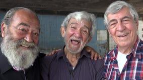 Amistad de viejos hombres felices almacen de metraje de vídeo