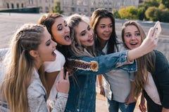 Amistad femenina moderna Comunicación social imágenes de archivo libres de regalías