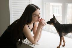 Amistad fuerte entre la muchacha y el perro cariñosos Fotos de archivo libres de regalías