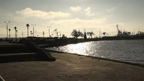 Amistad Kultuchnaya del lago del callejón del terraplén en la parte central de la ciudad almacen de video