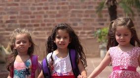 Amistad que camina de las chicas jóvenes almacen de metraje de vídeo