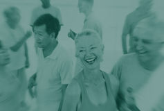 Amitié adulte mûre Conce de liaison de bonheur d'exercice de forme physique Images stock