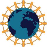 Amitié autour du symbole du monde Photographie stock