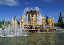 Amitié de fontaine dans l'exposition de VDNH à Moscou Photos libres de droits