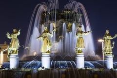 Amitié de fontaine des nations -- Centre d'exposition de VDNKH Tout-Russie, Moscou, Russie Photographie stock libre de droits