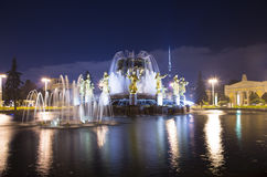 Amitié de fontaine des nations -- Centre d'exposition de VDNKH Tout-Russie, Moscou, Russie Photos libres de droits