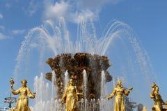 Amitié de fontaine des nations-- VDNKH (centre d'exposition de la Tout-Russie), Moscou, Russie Images stock