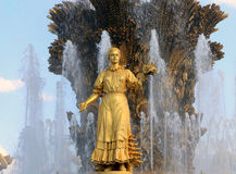 Amitié de fontaine des nations-- VDNKH (centre d'exposition de la Tout-Russie), Moscou, Russie Photos stock