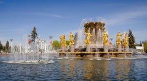 Amitié de fontaine des personnes dans VDNH Image stock