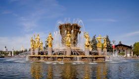 Amitié de fontaine des personnes dans VDNH Images stock