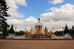 Amitié de fontaine Moscou, Russie de nations Images stock