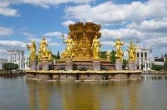 Amitié de ` de fontaine de ` de peuples à VDNH, Moscou, Russie Photographie stock