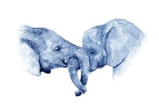 Amitié des éléphants watercolor illustration stock