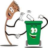 Amitié des balais et des poubelles Illustration de vecteur Photographie stock