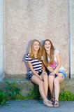Amitié - deux meilleures amies sur le fond gris Image libre de droits