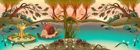 Amitié entre la grenouille et l'escargot illustration stock
