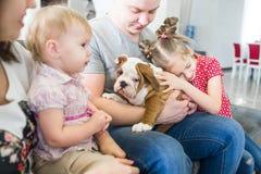 Amitié entre les personnes et les chiens Photographie stock