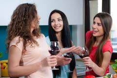 Amitié et bon temps au-dessus d'un verre de vin Photos libres de droits