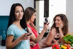 Amitié et bon temps au-dessus d'un verre de vin Images libres de droits
