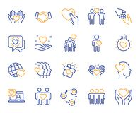 Amitié et ligne d'amour icônes Affaires d'interaction, de compréhension mutuelle et d'aide Vecteur illustration libre de droits