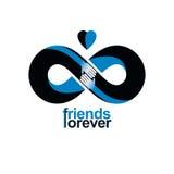 Amitié infinie, amis pour toujours, combin spécial de logo de vecteur illustration stock