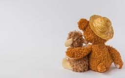 Amitié, ours de nounours tenant des moutons de peluche dans des ses bras, d'isolement Image libre de droits