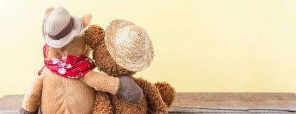 Amitié, ours de nounours tenant le cheval de peluche dans des ses bras, bannière Photo libre de droits