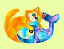 Amitié peu commune d'un chat et d'un poisson illustration stock