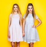 Amitié pour toujours La fille deux blonde renversante dans de belles robes sont des amies et restent des mains Photo libre de droits