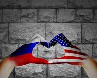 Amitié russe et l'Amérique Image libre de droits