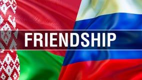 Amitié sur des drapeaux de la Russie et du Belarus Conception de ondulation de drapeau, rendu 3D Image de drapeau de la Russie Be illustration libre de droits