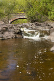 Amity Creek Bridge & Falls. A waterfall on a creek with a stone arch bridge in early autumn Stock Images