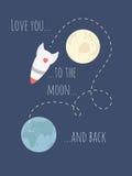 Amivi alla luna ed alla parte posteriore Fotografia Stock Libera da Diritti