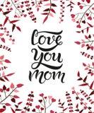 Amivi manifesto dell'iscrizione di tipografia della mamma su fondo floreale Fotografia Stock Libera da Diritti