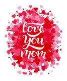 Amivi testo della mamma su fondo rosso Immagini Stock