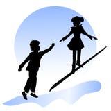 Amizade das crianças Menino e menina no jardim Imagem de Stock Royalty Free