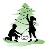 Amizade das crianças Menino e menina no Natal Fotos de Stock Royalty Free