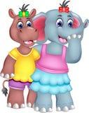 Amizade do ccartoon do elefante e do hipopótamo que está com sorriso e aperto Imagens de Stock