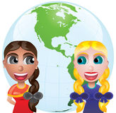 Amizade e globo Imagem de Stock Royalty Free