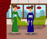 Amizade fêmea, ilustração de cor da conversação ilustração stock