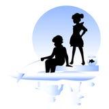 Amizade Menino, pesca da menina Imagens de Stock