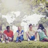 Amizade Team Relaxation Holiday Concept dos estudantes fotos de stock