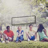 Amizade Team Relaxation Holiday Concept dos estudantes fotografia de stock