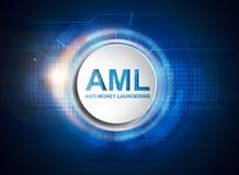 AML anti money laundering button stock illustration