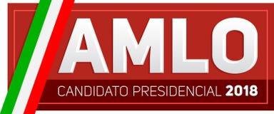 AMLO Andres Manuel Lopez Obrador Candidato 2018 presidencial, espanhol do candidato presidencial 2018 text ilustração do vetor