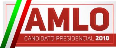 AMLO Andres Manuel Lopez Obrador Candidato presidencial 2018, kandyday na prezydenta 2018 hiszpański tekst, Meksykańscy wybory Fotografia Royalty Free