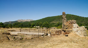Ammaia roman city square and Marvao on background Stock Image