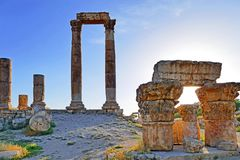 The Amman Citadel Before Sunset. Ruins of The Amman Citadel Before Sunset stock photo